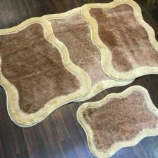 ROMANY WASHABLES TRAVELLERS 4PC MATS NON SLIP NEW DESIGN SUPER THICK CAMEL/BEIGE